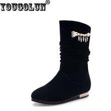Yougolun/женские Сапоги и ботинки осень-зима Кристалл Цепи на танкетке 2 см Обувь до середины икры с плюшем # Z-024