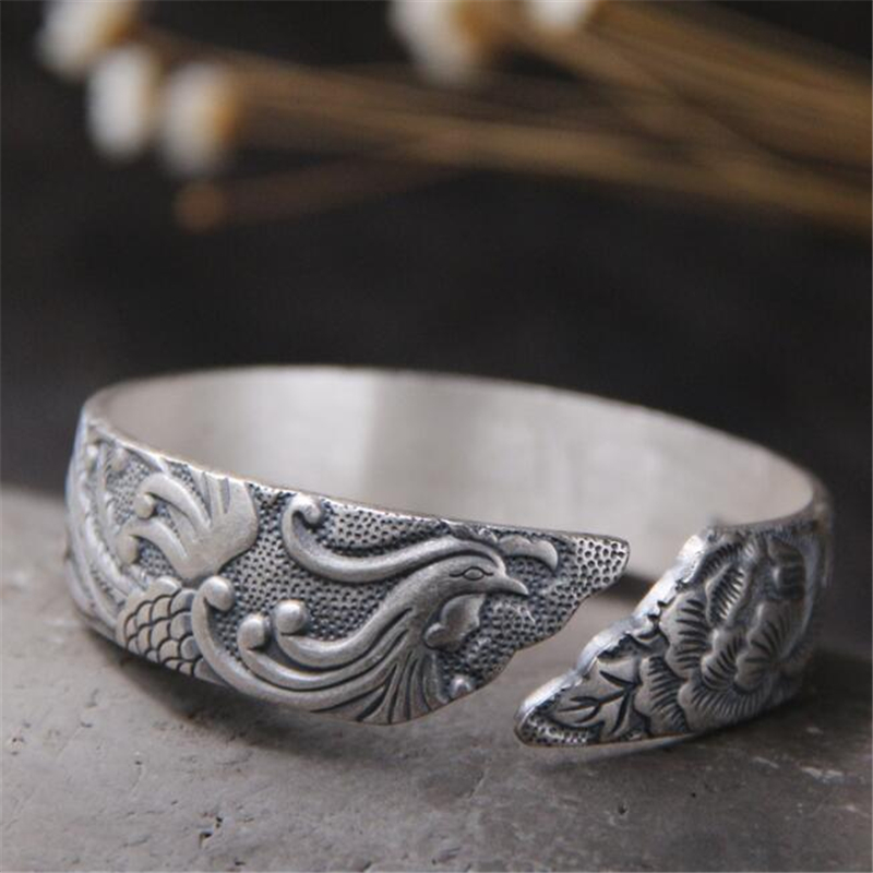 S999 Sterling Silver Carved Fortune Phoenix Peony Woman Cuff Bangle Bracelet 13mm Width 55 70G for ref in Bracelets Bangles from Jewelry Accessories