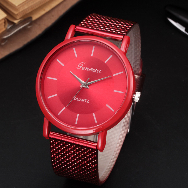 RED Business Watch 2018 Wrist Watch Men Simple Style Mesh Belt Men Women Unisex