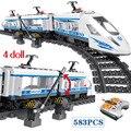 583 шт RC блоки Technik City Series железнодорожная станция высокоскоростные Железнодорожные Строительные блоки Наборы кубиков Игрушки для мальчиков