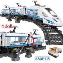 583 stücke RC Blöcke Technik Stadt Serie Eisenbahn Zug Station High speed Rail Bausteine Ziegel Sets Spielzeug Für jungen