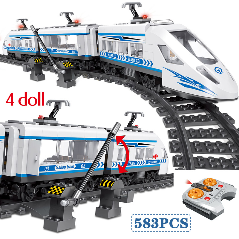 583pcs RC Blocks legoingly Technik City Series Railway Train Station High speed Rail Building Blocks Bricks Sets Toys For Boys-in Blocks from Toys & Hobbies