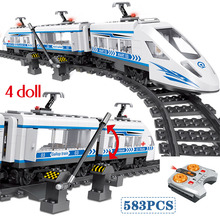 583pcs RC 블록 Technik 도시 시리즈 철도 기차역 고속 레일 빌딩 블록 벽돌 세트 소년을위한 장난감