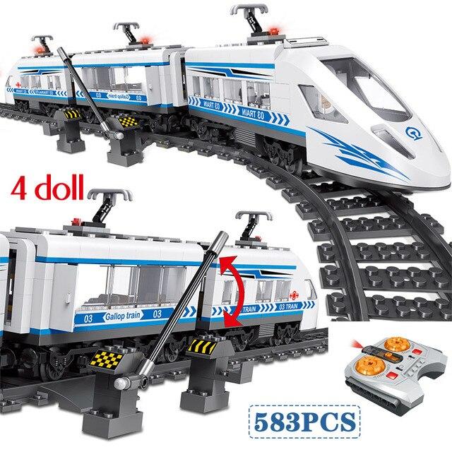 Bộ 583 RC Khối Technik Thành Phố Series Đường Sắt Nhà Ga Đường Sắt Cao Tốc Khối Xây Dựng Gạch Bộ Đồ Chơi bé Trai