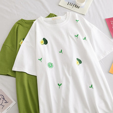 2019 Summer Fruit Avocado Green Women Graphic Embroidered T-shirt Cec Female Korean Loose Tees Tops Harajuku Ulzzang Tumblr