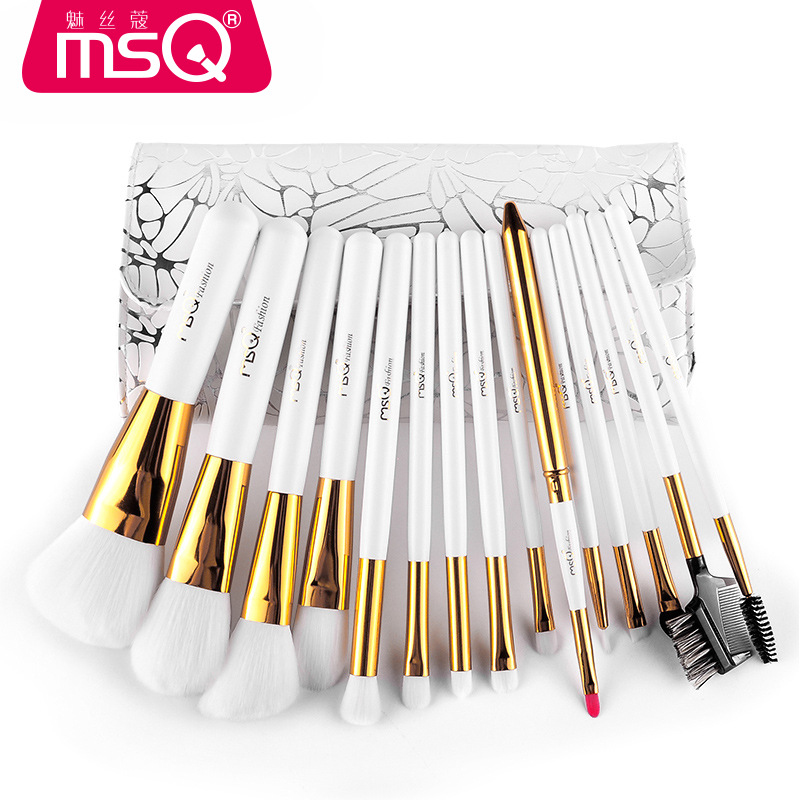 MSQ Professional Makeup Brushes Set High Quality 15 Pcs Makeup Tools Kit Premium Full Function Blending Powder Foundation Brush