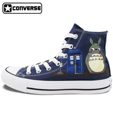 Blue Sneakers Men Women Converse Chuck Taylor Totoro Pokemon Police Box Design Hand Painted High Top Canvas Shoes Boys Girls