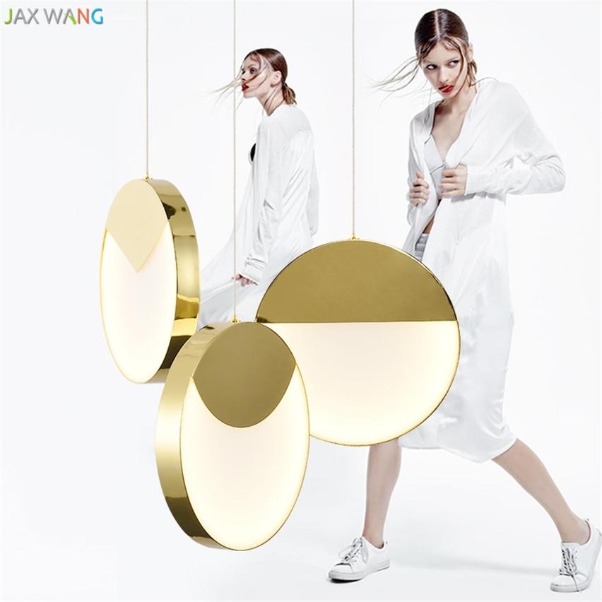 JW_Nordic Postmodern Minimalist Pendant Lights Individuality Metal LED Dining Room Living Restaurant Golden Round Lamps