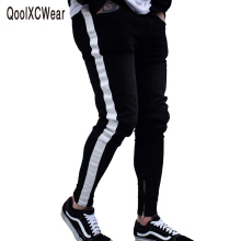 QoolXCWear side striped Skinny Jeans For Men Hip Hop Slim Zipper Men Jeans Fit Brand Biker Style Tight Jeans tie dyed zipper embellished biker jeans
