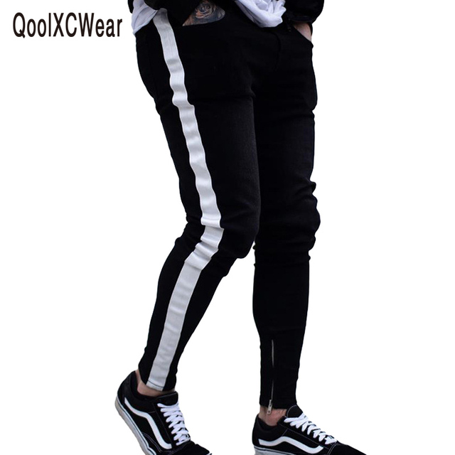 ac527a7d1effc4 QoolXCWear side striped Skinny Jeans For Men Hip Hop Slim Zipper Men Jeans  Fit Brand Biker Style Tight Jeans