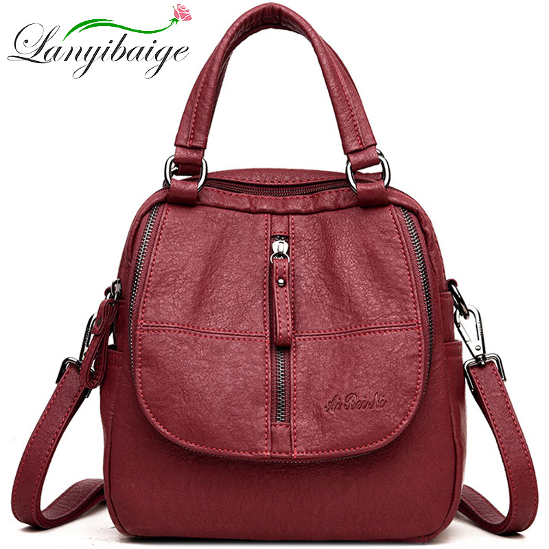 Women High Quality Leather Backpacks Fashion Female Multifunction Travel Backpack School Bags For Girls Shoulder Bag Sac A Dos