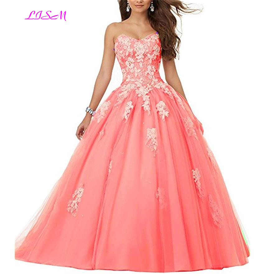 Vintage Ball Gown Prom Dresses Quinceanera Robe Long White Appliques Tulle Sweet 16 Dresses Vestidos De 15 Anos Quinceanera 2019