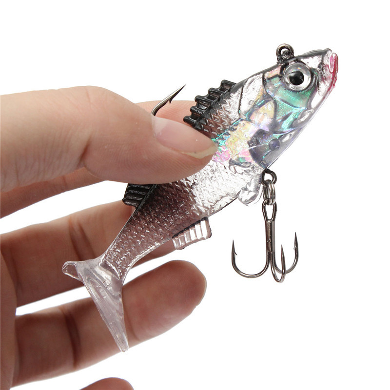 Paillette 3D Eyes Lead Fishing Lures Artificial Soft bait Carp Crank bait with Treble Tackle Hooks 7.6cm