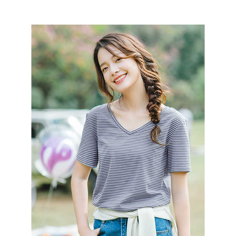 INMAN Summer V-neck Striped Korean Fashion Casual Student All Matched Slim Loose Short Sleeves Women T-shirt