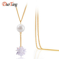 DuoTang New Hot Sale Women Gold Plated Zircon Ice Flower Necklace Fashion Pearl Necklace Pendants Brand