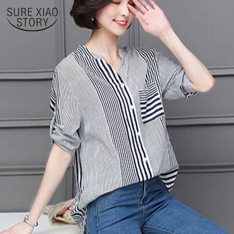 New 2018 Summer Fashion Striped Women   Blouse     Shirt   Short Sleeve Inch   Shirt   Loose Large Size Female Bottoming Tops Blusas 0736 30