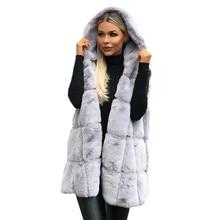 Feitong женский жилет без рукавов пальто с капюшоном осень зима сплошной цвет зимнее теплое длинное шерстяное пальто chalecos para mujer размера плюс