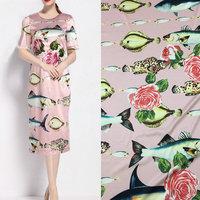 polyester silk satin   fabric  ,fish and rose print silk stretch satin   fabric   tissue,women evening dress imitate silk   fabric