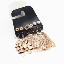 wing yuk tak 6 Pairs/Sets Vintage Gold Color Leaves Long Tassel Simulated Pearl Stud Earri