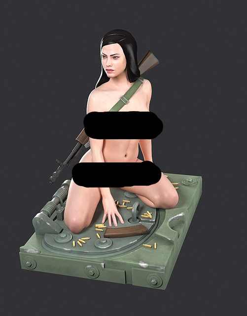 Free Shipping 1/35 Scale Unpainted Resin Figure Female soldier collection figure