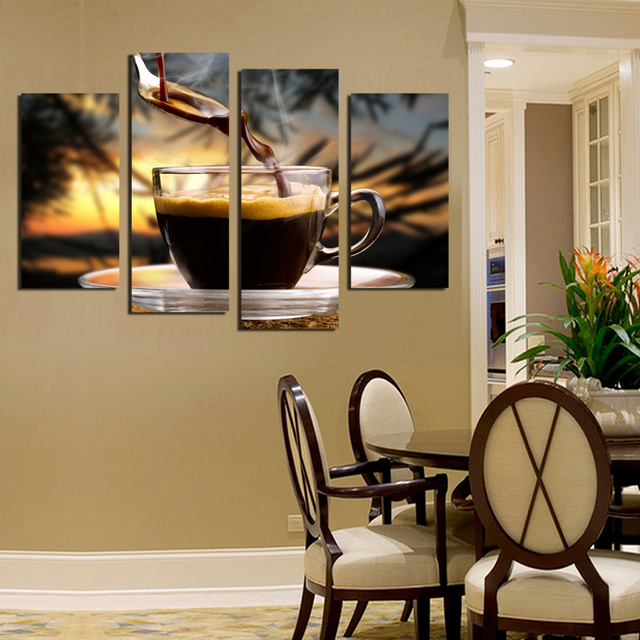 4 Panels Canvas Painting Coffee Background Print Painting On Canvas Wall Art Modular Pictures