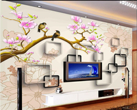 Beibehang Customize Magnolia Flower Bird Tree Photo Fresco Wall Paper Living Room Sofa Bedside Background Decor
