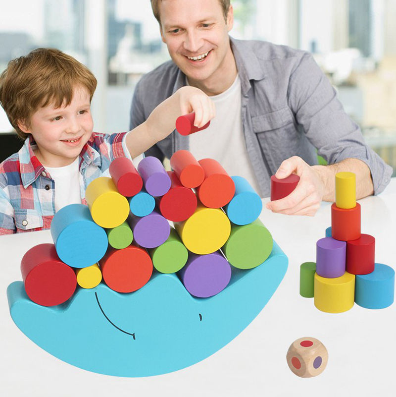 Wooden building blocks children's educational colored moon balance heap tower piles of music wooden Toys  for baby kids wooden balance board skid counterweight balance training and the training of difficult personal and educational supplies