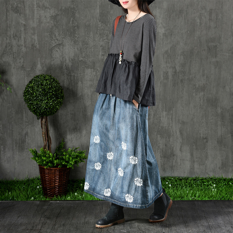 Embroidered Thin Blue Skirts Wind Retro Theatrical Elastic Waist line Line Sen Denim A White Wear National Was Female Washed Autumn 0Hqw8xHO