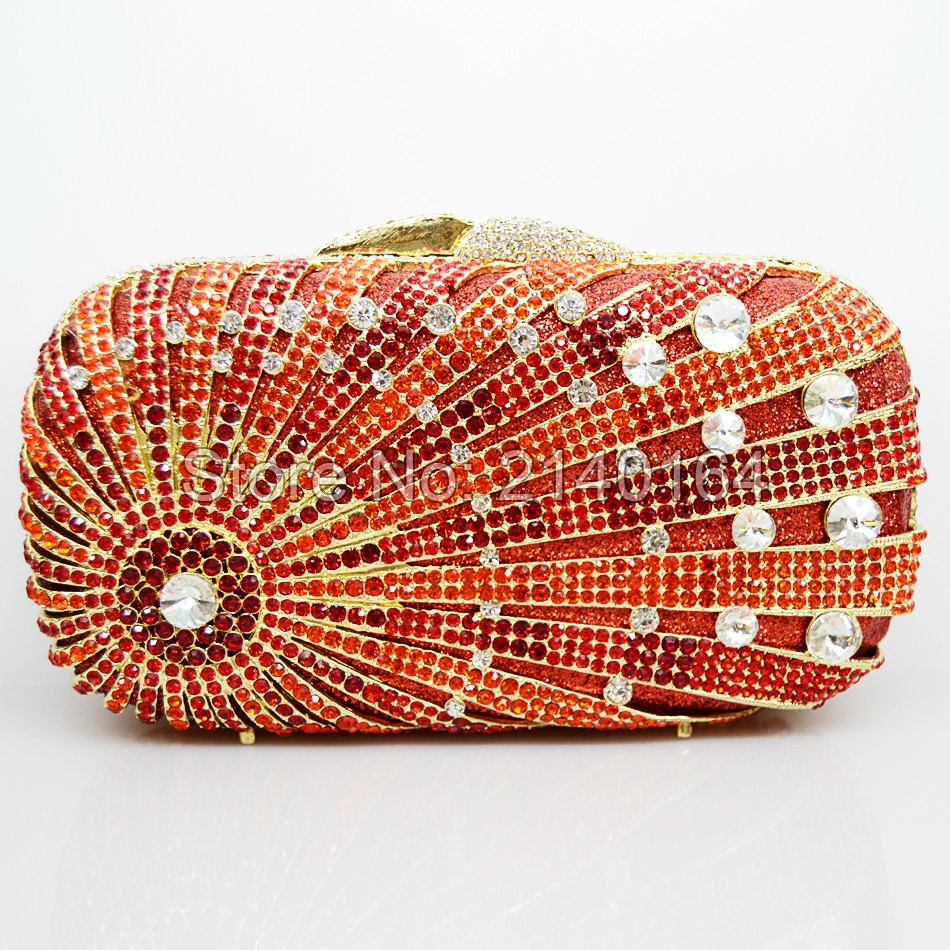 Lovely Orange Luxury sparkly Crystal Stones Evening Bag Unique Diamond Banquet Party Prom Handbag Women Wedding Clutch Bag 88272 europea and american high end luxury crystal diamond evening bag green full diamond evening clutch banquet party prom dinner bag
