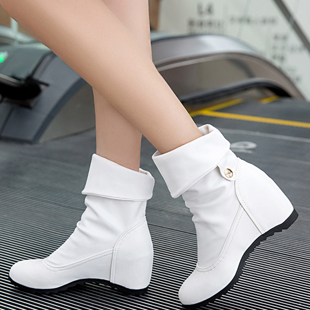 YOUYEDIAN High-Heel Boots Wedges Botines Casual-Shoes Female Winter Super Mujer Turn