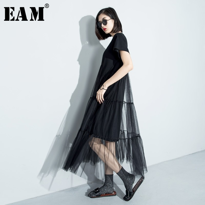 [EAM] Women Black Asymmetrical Mesh Split Joint Dress New Round Neck Short Sleeve Loose Fit Fashion Tide Spring Summer 2020 3361