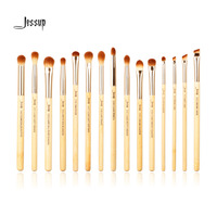 Jessup Brand 15pcs Beauty Bamboo Professional Makeup Brushes Set Make Up Brush Tools Kit Eye Shader