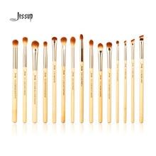 Jessup Brand 15pcs Beauty Bamboo Professional Makeup Brushes Set Make up Brush Tools kit Eye Shader Liner Crease Definer  Buffer