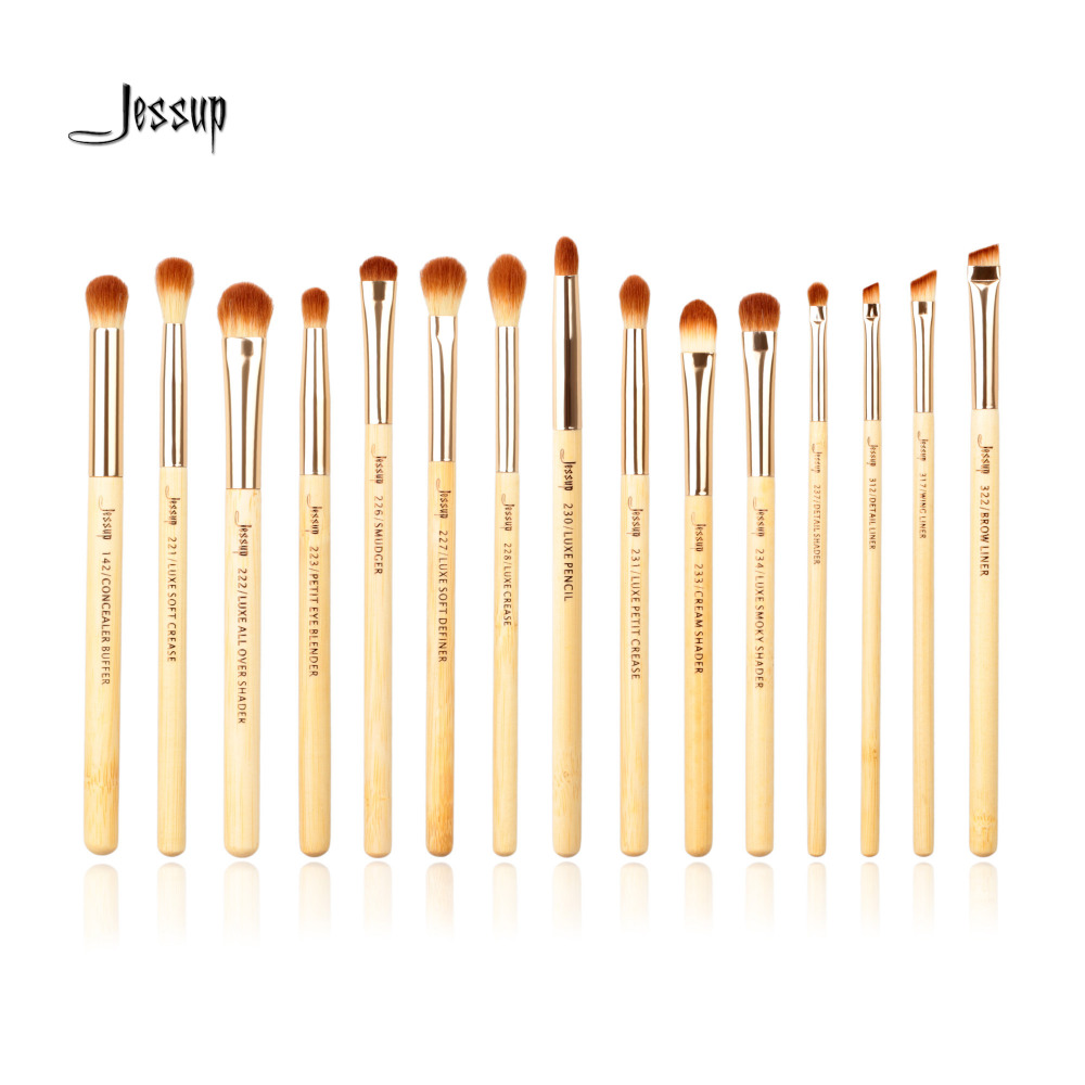 Jessup Brand 15pcs Beauty Bamboo Professional Makeup Brushes Set Make Up Brush Tools Kit Eye Shader