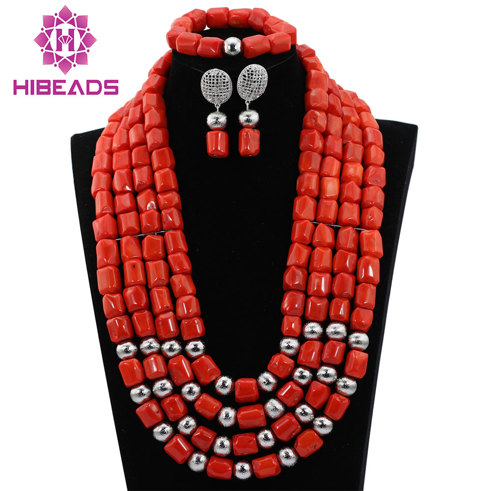 Gemsnorm Jewelry Nigerian Bead Necklaces Wedding Red Coral Beads Jewelry Set African Beads Jewelry Set Free Shipping CG051Gemsnorm Jewelry Nigerian Bead Necklaces Wedding Red Coral Beads Jewelry Set African Beads Jewelry Set Free Shipping CG051