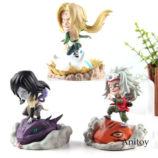 Figurine Naruto Shippuden Naruto Anime Action Figures Orochimaru Tsunade  Jiraiya Q Version PVC Collection Model Toys