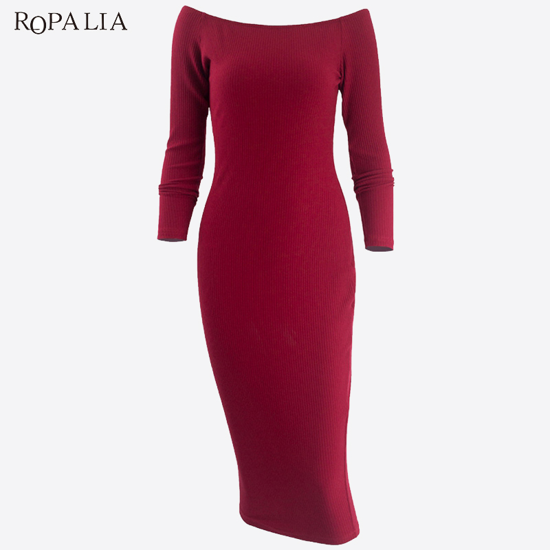 ROPALIA Long Sleeve Off Shoulder Slash Neck Sexy Club Women Dress Slim Bodycon Knitted Sweater Knee-Length Party Dresses T7 fashion long sleeve slash neck sexy club women dress slim stretch knitted sweater knee length slits party night dresses s 3xl