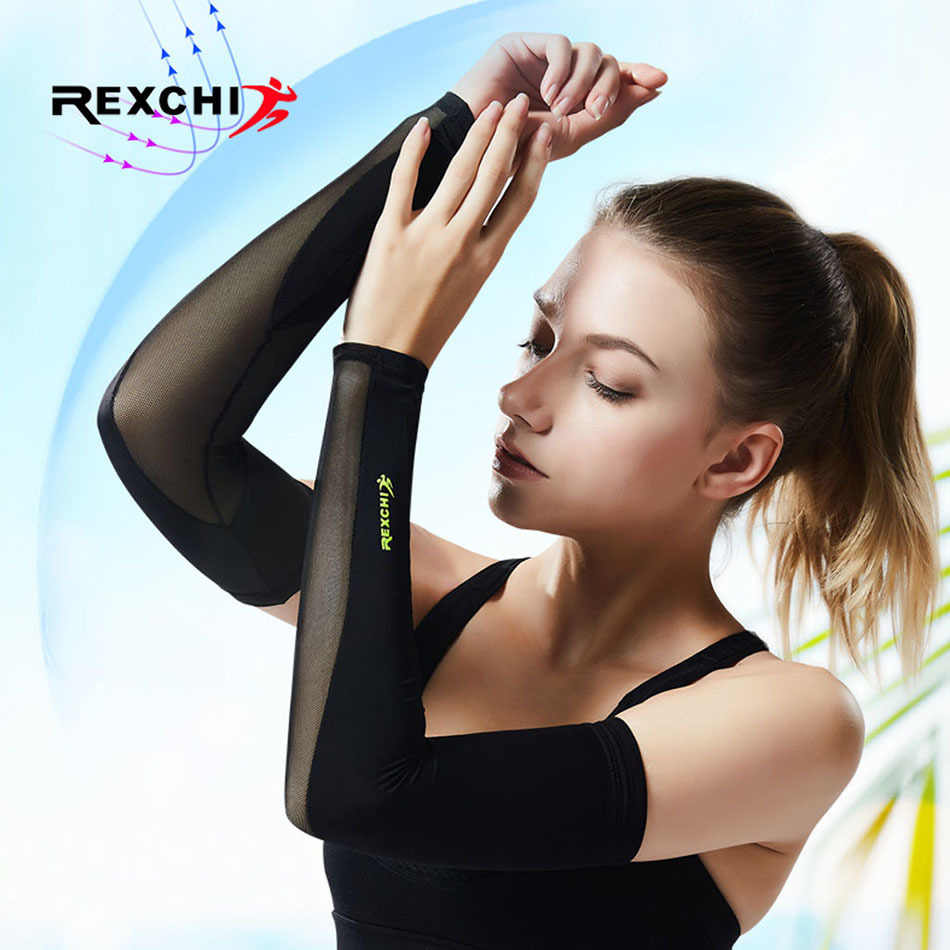 REXCHI Ice Fabric Arm Sleeves Mangas Warmers Summer Sports UV Protection Running Basketball Volleyball Cycling Reflective Bands