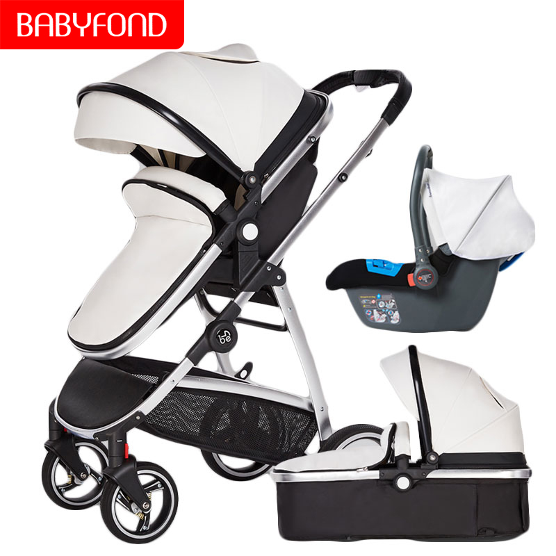 Brand 2 In 1 Baby Stroller Can Sit And Fold Folded Light High Landscape Winter Newborn Baby Child Stroller Leather Hotmom