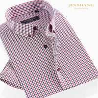 Lazy Handsome Men Comfortable Healthy Bamboo Fiber Shirts Short Sleeve Formal Fashion Style Plaid Casual Shirts For Business Men