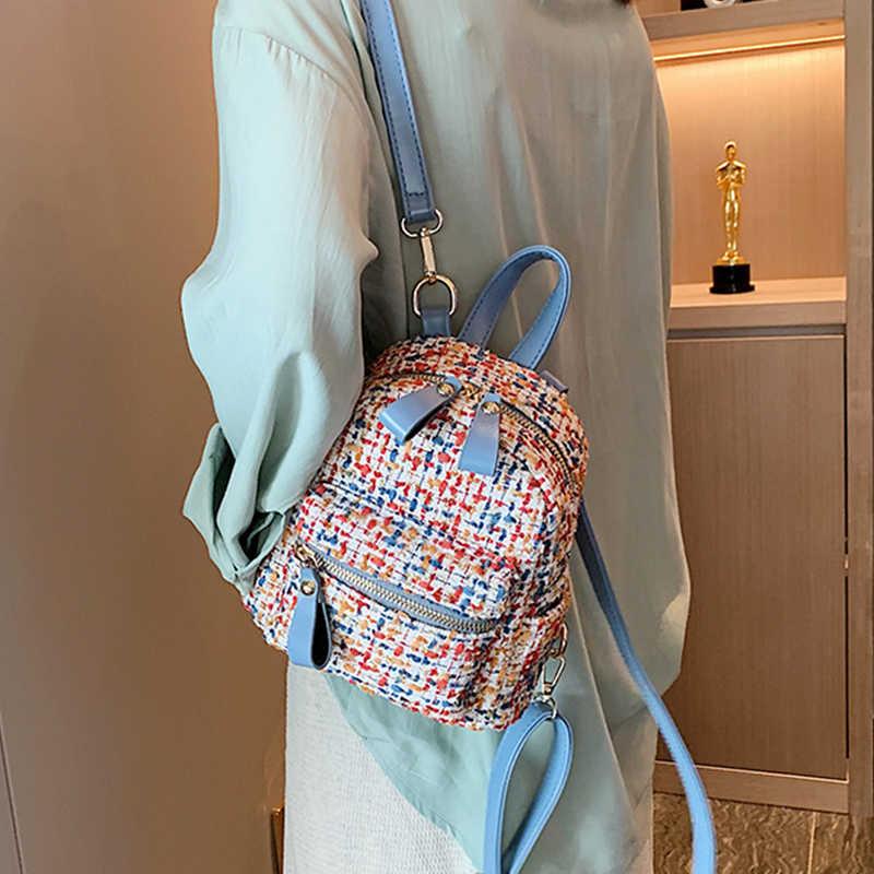Женский зеленый контрастный кожаный рюкзак мини Мягкий сенсорный многофункциональный маленький рюкзак женская сумка на плечо кошелек для девочек