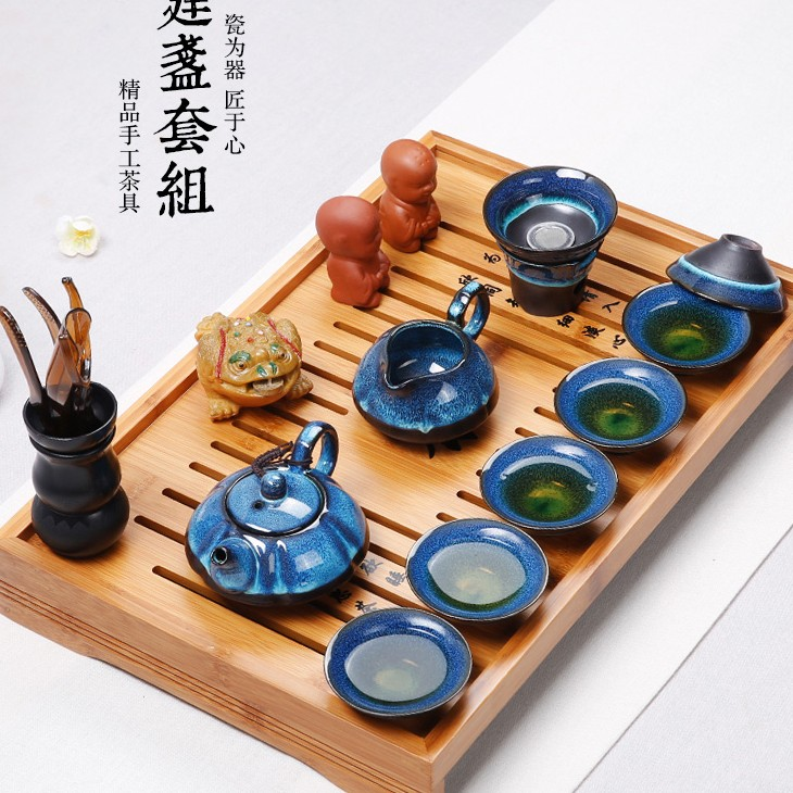 Nouveauté thé chinois Set thé cérémonie accessoires céramique huile gouttes bleu ambre glaçure Kung Fu thé ensemble thé bouilloire tasse ensemble