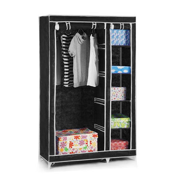 Double Triple Canvas Wardrobe Cupboard Hanging Clothes Rail Storage Shelves Bedroom Furniture Hot