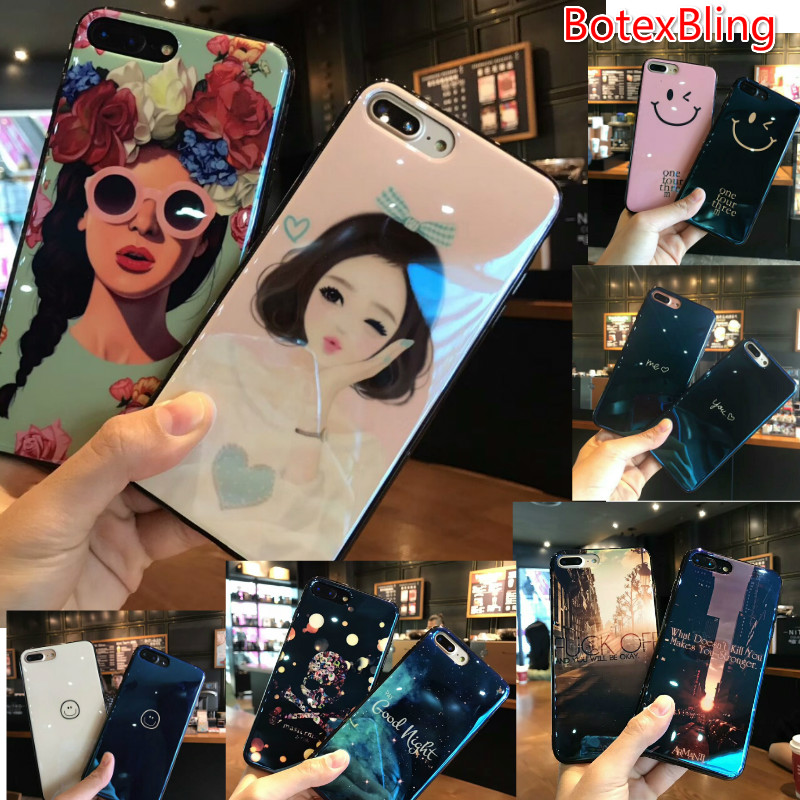 BotexBling Cute girl cartoon couple phone case for iphone X 8 8plus 7 7plus 6 6s plus 6plus lion love skull letter Blu-ray cover