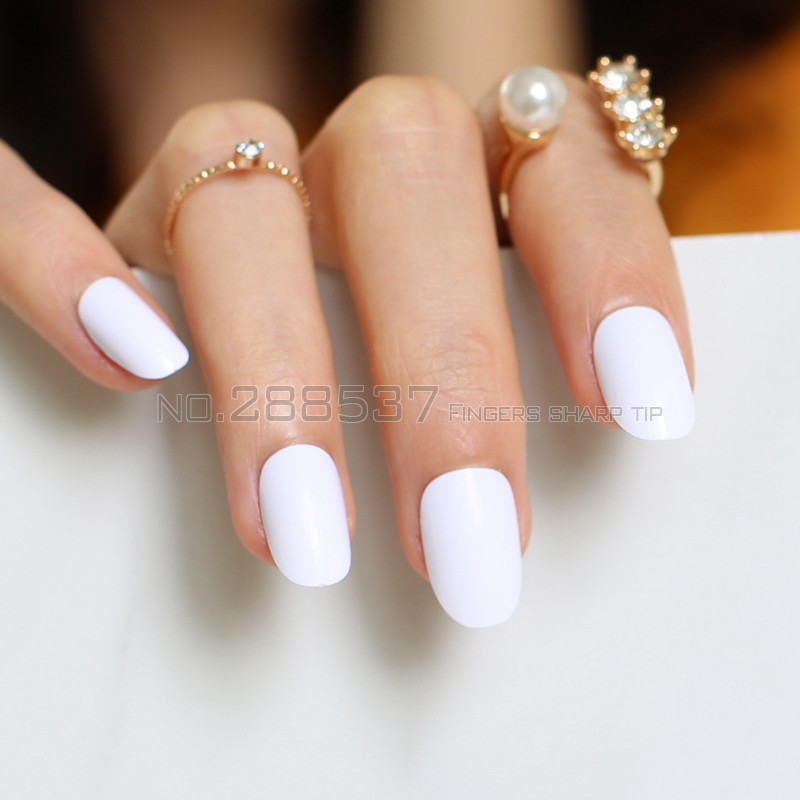 24pcs new product hot sales candy oval decorative fake nails short ...