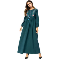 Women Embroidery Flowers Long Dress Long Sleeve Loose Pleated Maxi Dress Female Sping Autumn Green Elegant Dress Ladies Robe