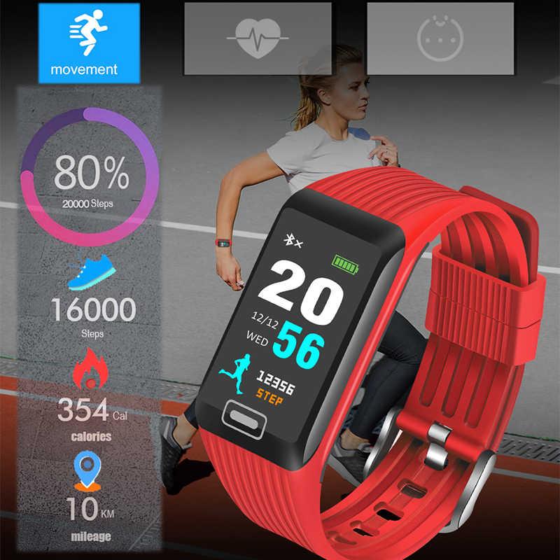 Ini 2019 Baru Smart Gelang Monitor Detak Jantung Kebugaran Tracker Olahraga Pedometer Watch Fashion Smart Watch Pria Kebugaran Watch + kotak