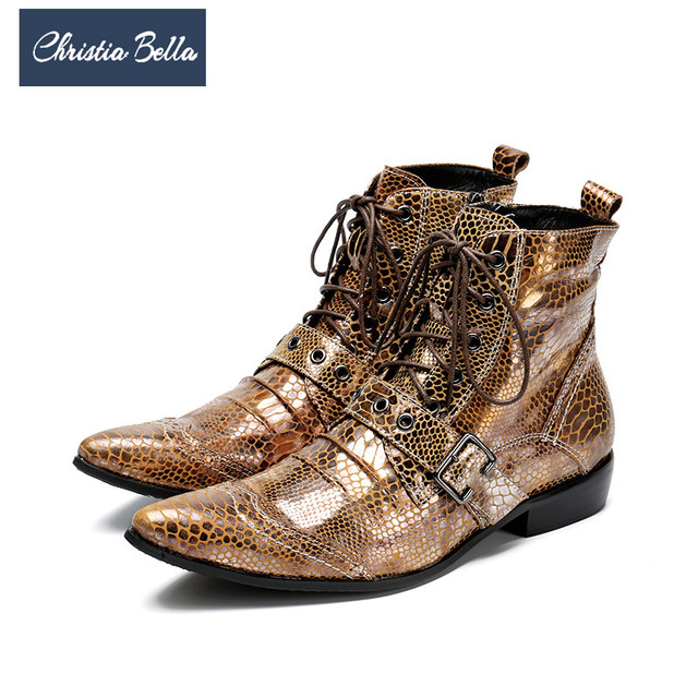 Christia Bella Fashion Snake Pattern Gold Men Genuine Leather Boots Pointed Toe Men Ankle Boots Luxury Lace Up Motorcycle Boots