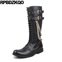 Mid Calf Men S Shoes Flat Fall Knee High Black Metalic Embellished Boots Stud Punk Top