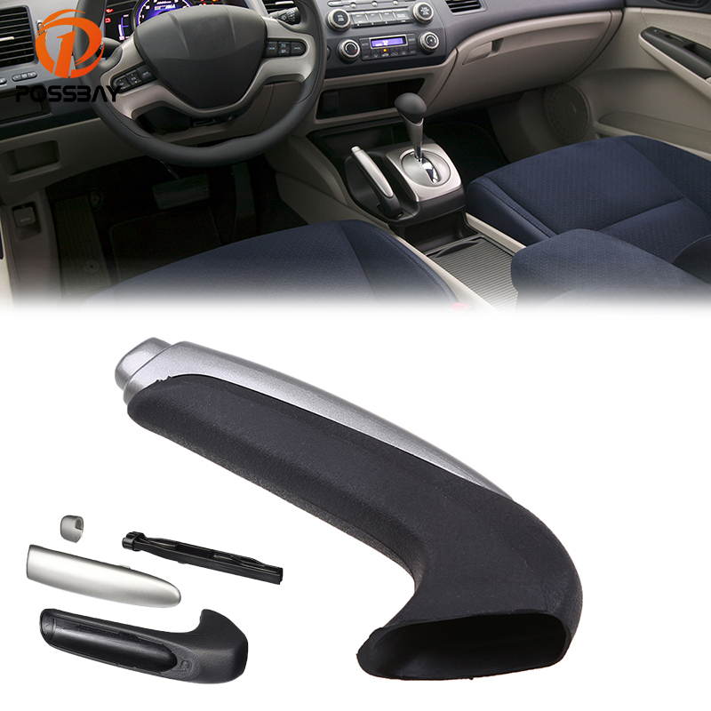 POSSBAY Car Handle Grip Covers For Honda Civic Sedan 2006-2011 Parking Hand Brake Handle Sleeve Protector Interior Accessories